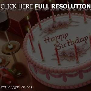 Торт с надписью happy birsday