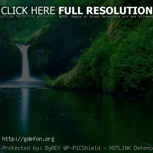 Водопад, река, лес