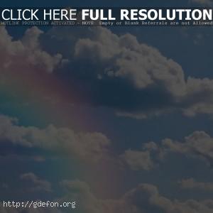 Небо, облака, радуга