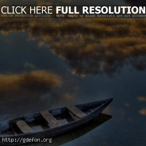 Лодка, отражение, озеро