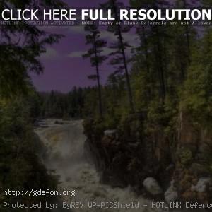 Река, водопад, небо, лес, природа, пейзаж