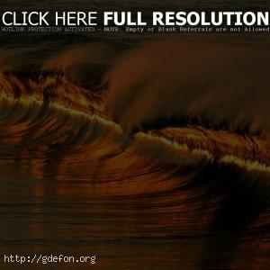 Волна, закат, море, вода