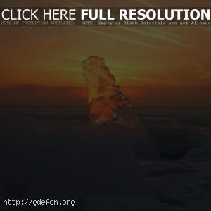 Лед, закат, прозрачный, снег