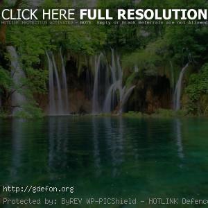 Водопад, вода, лес