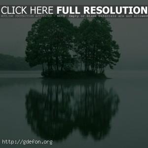 Деревья, остров, отражение, озеро