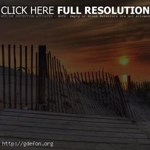 Забор, песок, берег, солнце, сакат