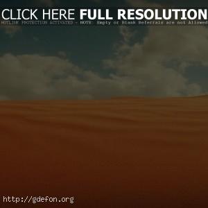 Пустыня, песок, облака, небо
