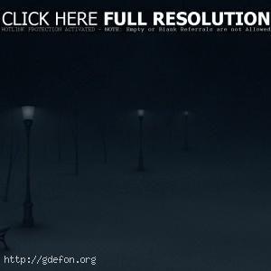Зима, ночь, фонари, снег