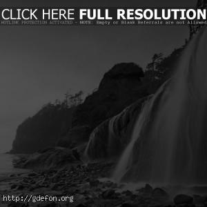 берег, море, водопад