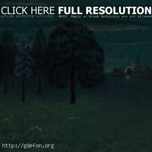 Деревья, город, огни, рисунок