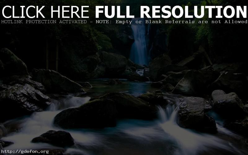 Обои Водопад, камни, джунгли фото картики заставки