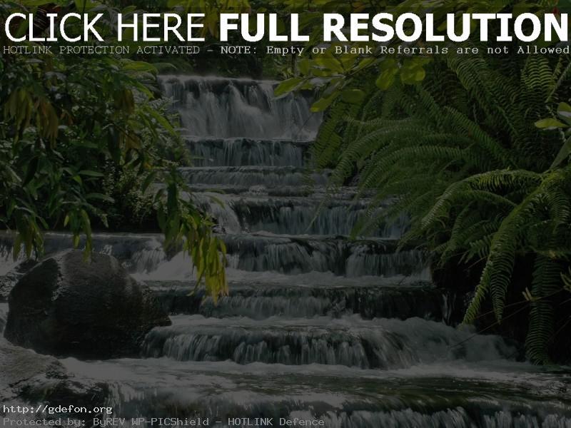 Обои Каскад, водопад, зелень фото картики заставки