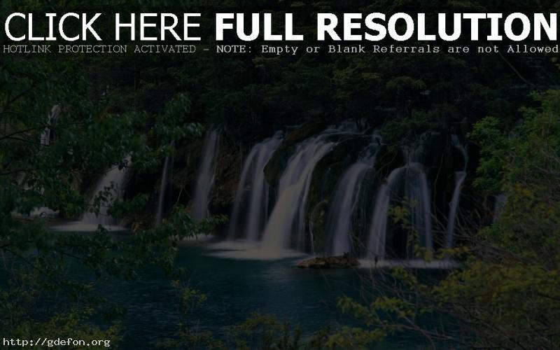Обои Водопад, лес, камни фото картики заставки