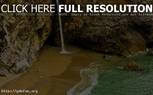 Обои Пейзажи, водопады, вода, скалы, берег, песок фото картики заставки