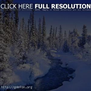 Зима, снег, река, лед