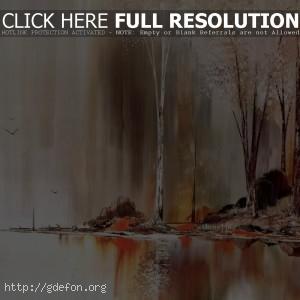 Рисунок, деревья, масло