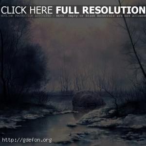 Рисунок, болото, снег, туман