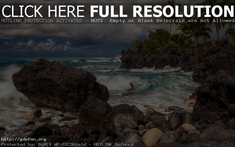 Обои берег, скалы, остров, пальмы фото картики заставки
