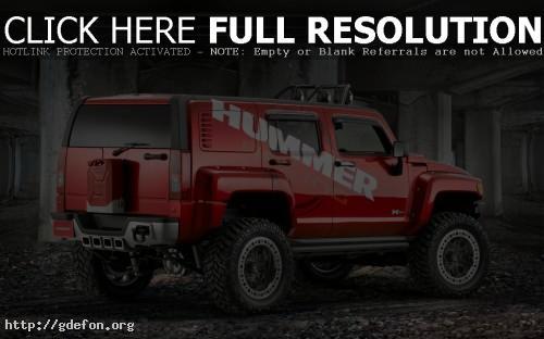 Обои Hummer H3 красный фото картики заставки
