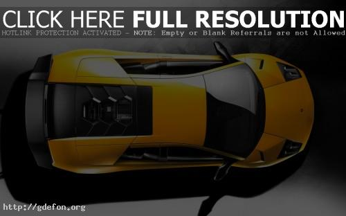Обои Желтый Lamborghini, вид сверху фото картики заставки