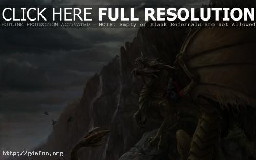 Обои Рыцарь на зеленом драконе фото картики заставки
